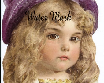 Digital download*Old advertising card image little girl*Wonderful*Great*Use in decoupage, collage,sewing.ornaments