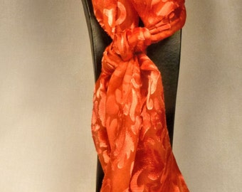 Hand dyed Devore Satin Scarf red satin and red silk chiffon