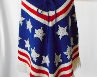 Vintage 1960s Sea's Fully Fashioned Americana Cape, Vintage Americana Shawl, 1960s Patriotic Sweater, Vintage Fringe, Red White Blue Poncho