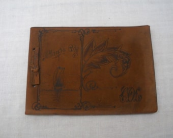 Antique Vintage Suede Photo Album - Atlantic City Souvenir