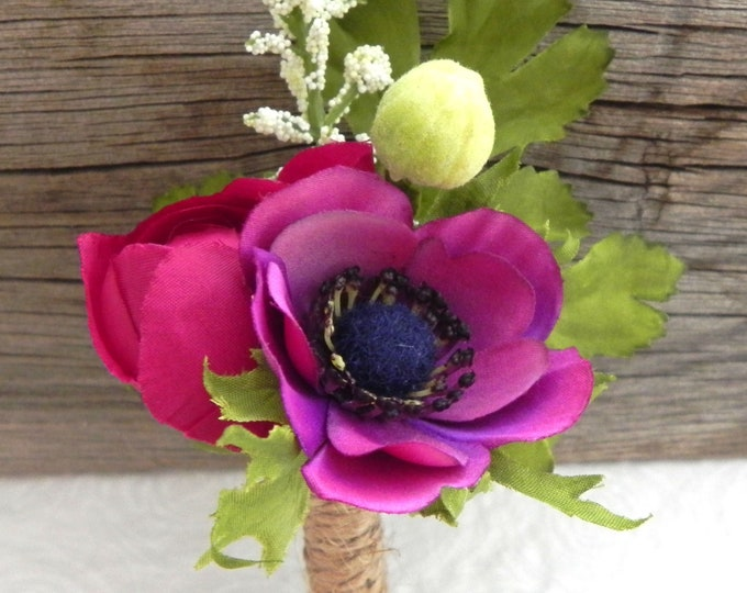 Anemone Boutonniere, Plum Anemone and Ranunculus Bud with Twine, Buttonhole, Groom and Groomsmen Flower, Rustic Wedding