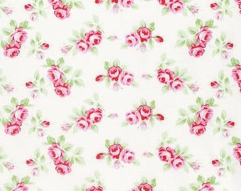 White Rosebuds  PWTW131-WHT Cotton Fabric by Tanya Whelan Free Spirit Rambling Rose