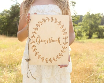 Guestbook Rustic Wood Guestbook Wedding Guest Book Rustic Baby Shower Guestbook Bridal Shower Guestbook Laurel Wreath Guestbook