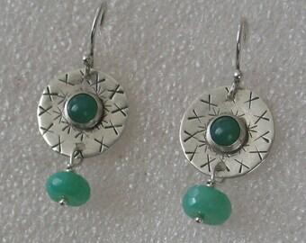 SALE Vintage green chrysoprase sterling silver earrings