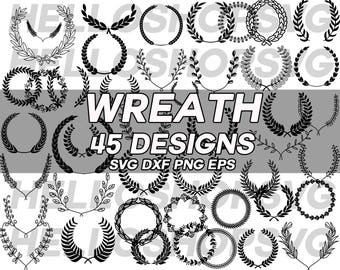 wreath svg, laurel wreath, floral wreath, leaves wreath, leaf wreath, flower wreath, clipart, stencil, vinyl, cut file, silhouette, iron on