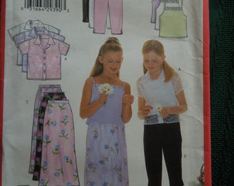 Butterick 6038, sizes 12-14, shirt, camisole, skirt and pants, girls, childrens, UNCUT sewing pattern, craft supplies