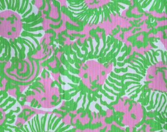 """cabana pink sunny side dobby cotton fabric square 17""""x17"""" ~ lilly spring 2014 ~ lilly pulitzer"""