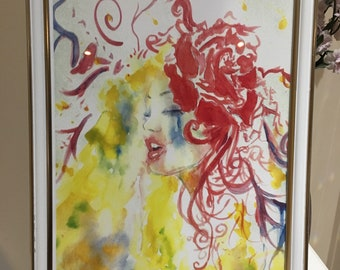 Lost in emotions A4 framed watercolour hand drawn orginal print home decor