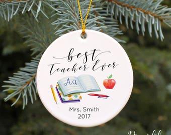 personalized teacher ornament teacher gift christmas ornaments teacher christmas gift idea porcelain keepsake ornament college professor