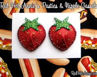 Rhinestone Strawberries Burlesque Pasties (Red)
