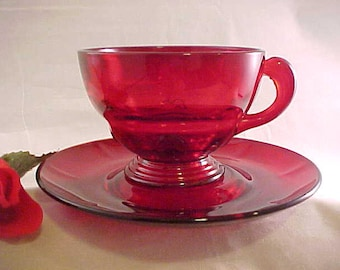 1930s New Martinsville Ruby Red Moondrops Footed Cup and Saucer Set, Elegant Glassware of the Depression Era, Collectible Kitchen Glassware
