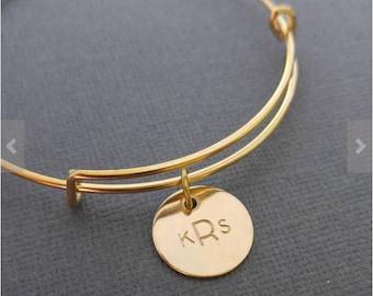 Gold Personalized Monogram Bangle Bracelet- Personalized Initial Bangle Bracelet- Monogram Bangle Bracelet - Monogram Jewelry-