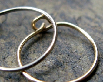 26g hoops-- solid 14k gold or sterling silver hoop set-- primitive series-- handmade by thebeadedlily
