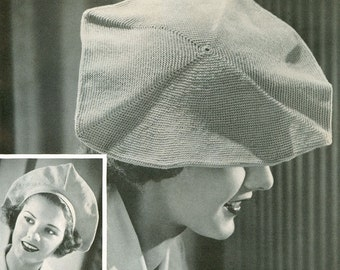 CROCHET PATTERN Vintage 30s Swanky Beret Instant Download PDF