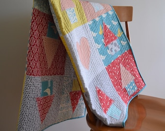 Primary Color House Baby or Toddler Quilt - Ready to Ship