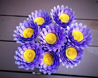 Paper Flower Bouquet - 8 Bright Lavender Daisies - Handmade Paper Flowers for Brides, Weddings, Showers, Birthdays, Mother's Day