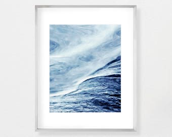 Seascape Painting Coastal Wall Art Blue Abstract Ocean Print Large Wall Art Digital Download Printable Wall Art Watercolor Painting