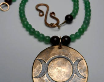 Triple Goddess - Etched Bronze - Aventurine & Bronzite Gemstone Beaded Necklace - Lunar Wiccan Witch Pagan Moon Maiden Mother Crone