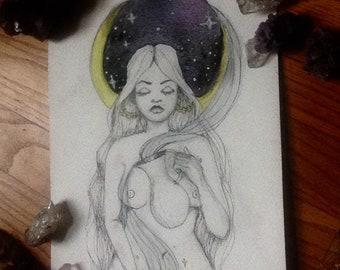 Original drawing - Bruja de luna