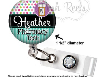 Pharmacy Badge Holder - Pharmacy Teck Badge Reel - Pharmacist Badge Reel - Polka Dot Pharmacy Tech Badge Reel, Carabiner or Lanyard - 1507