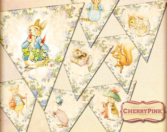 PETER RABBIT digital printable bunting decoration for you party, featuring Beatrix Potter illustrations with a floral texture