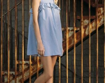 Bicolor cotton ruffled mini dress Striped dress Mini dress Sleeveless dress Summer dress Cotton dress Ruffled mini dress Festival dress Boho
