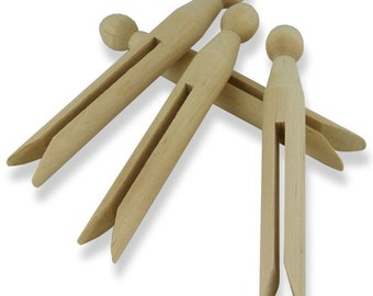 Plain Wooden Dolly Pegs - Doll Peg Set of 12 - Craft Decorate Toy Figure Make