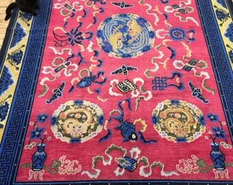 Antique Handmade Chinese Art Deco Rug