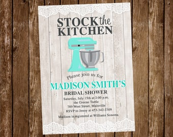 Stock the Kitchen, Bridal Shower, Invitation, Party, Kitchen, Mixer, ANY COLOR - Digital or Printed