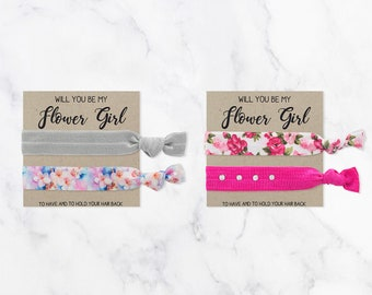 Will You Be My Flower Girl and Help Me Tie The Knot Hair Tie Favors | Flower Girl Proposal | Bridesmaid Proposal | Bridal Shower Favors