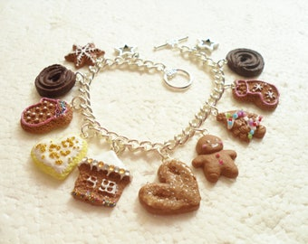 Gingerbread Charm Bracelet.  Polymer clay.