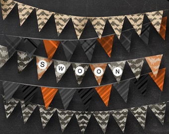 Editable Halloween Bunting - Printable Parchment Bat Chevron, Blackboard Bats, Tri-Colored Bats. Plaid and Stripes Banner Instant Download