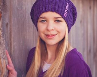 Crochet Slouchy Hat, Purple, Valley Slouch, Women's Crochet Hat, Fall Fashion, Winter Fashion, Slouchy Beanie, Boho Chic,