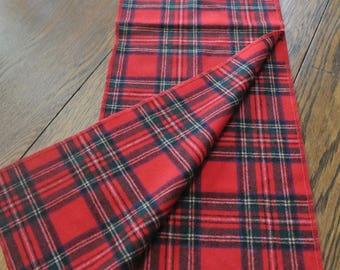 Red Plaid Hooded Scarf Amana 100% Virgin Wool Hood Scarf