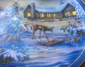 Free Shipping WOODLAND SPLENDOR Plate Deer Friends at Christmas   #4 Log Home House Cabin