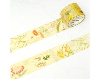 Floral Wide Washi Tape (1 pc) Japanese Stationery Cute Masking Tapes Deco Tapes