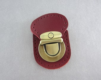 Wine Red Leather Purse Lock