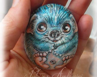 Hedgehog No.8  Handpainted rock painting painted stone miniature painted rock pebble fine art