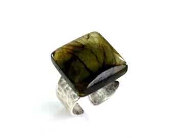 Labradorite Ring, Green Labradorite Ring, Gemstone Ring, Semi Precious Ring, OOAK Ring, 219