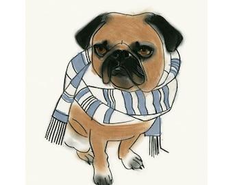 """Pug dog  Art print - 4 for 3 SALE - Pascal - 8.3"""" X 11.7 print"""