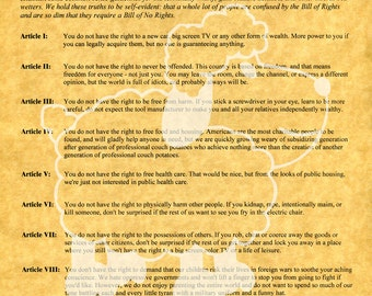 Bill of No Rights, Laminated, Letter Size, Laser Print on Gold Parchment Paper