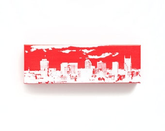 Nashville Skyline Canvas (12 x 4 inches, Red with White) Cityscape Screen Print & Painting Home Decor
