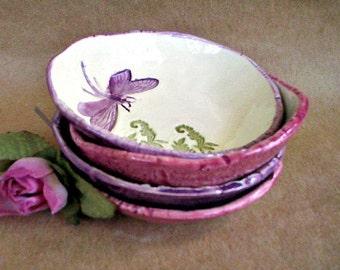 FOUR Ceramic Dragonfly Prep Bowls Serving bowls Ice cream bowls trinket bowls