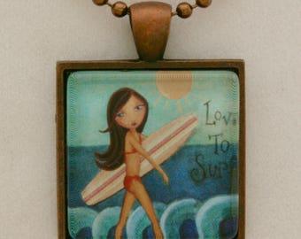 Surfer Girl Necklace - Girls Jewelry- Surf Wear- Girls Accessories - Surf Necklace- Gift for Girl- Gift under 20