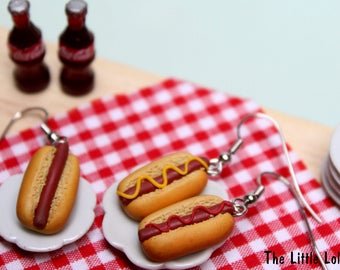 Hotdog Earrings - Fimo Food Jewelry