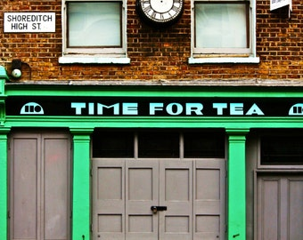 London Photography - Shoreditch Print - Time For Tea, Shop Front