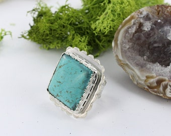 Turquoise ring - Sterling silver ring - Statement ring - Southwestern ring - Handmade