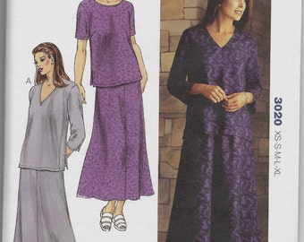 3020 Kwik Sew Tops and Skirt Sewing Pattern Sizes XS-S-M-L-XL