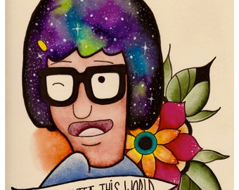 Tina Belcher Bobs Burgers Original art print, giclee print, adult swim, I'm not hero, Tina belcher butts, galaxy art, watercolor galaxy