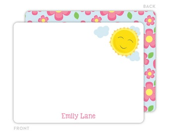 Sunshine Note Cards - Personalized Flat Note Cards - Sunshine Notecards - Kids Stationery - Kids Thank You Cards - Sunshine Stationery